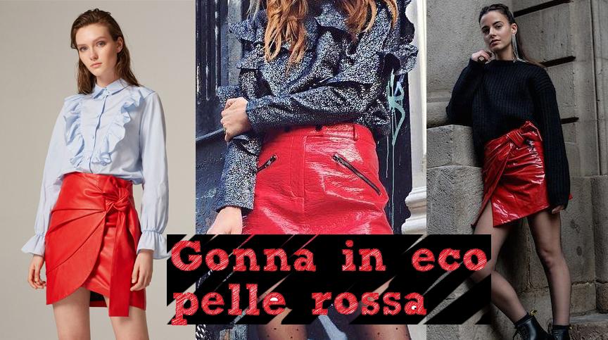 Gonna in eco-pelle rossa  idee per i look - Veronica ade0e960ab71
